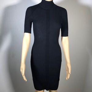 Moda Knitted Stretchy Black Mini Dress D14 size sm